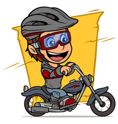 cartoon boy character riding on retro motorbike vector image