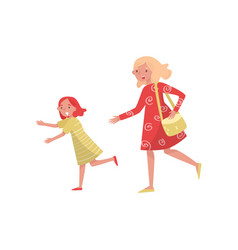 cheerful mother and her daughter in running action vector image