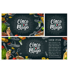Cinco de mayo lettering and mexican traditional vector