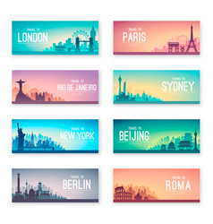 Collection of famous city capes vector
