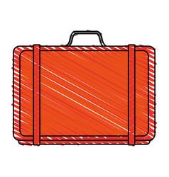Color crayon stripe orange travel briefcase with vector