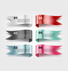 color glossy fflying flags or banners with text vector image