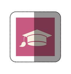 color sticker square with graduation hat icon vector image