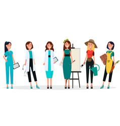 Concept of women s professions six characters vector