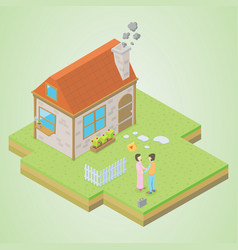 couple in front of his house vector image