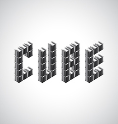 Cube word from 3d metal cubes vector
