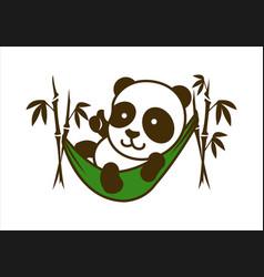 cute little panda character in bamboo hammock vector image