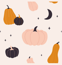 cute seamless pattern with pumpkins in pastel vector image