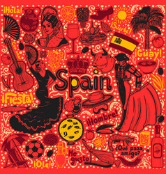 dark set of symbols of spain in hand-drawn style vector image