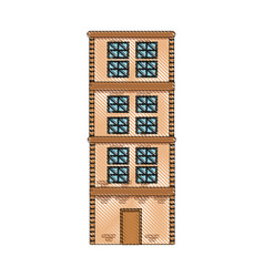 drawing building home brick construction vector image