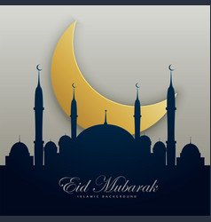Eid mubarak with mosque silhouette and golden moon vector