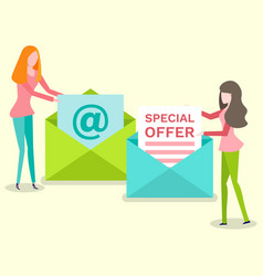 Female with newsletter in opening envelope vector