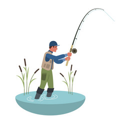 fisherman holding fishing rod flat style colorful vector image