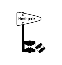 Flat icon in black and white style pointer north vector