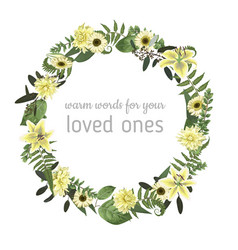 floral card with forest leaf fern branches vector image