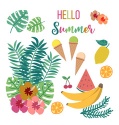 floral summer card with tropical leaves and vector image