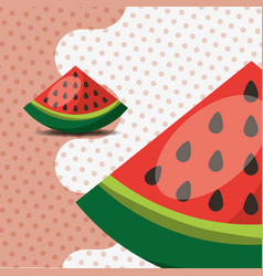fresh fruit natural watermelon on dots background vector image