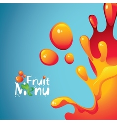 Fruit menu and drops and splashes fresh juices vector