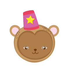 Funny circus monkey head with hat vector