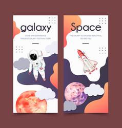 Galaxy flyer design with planet astronaut rocket vector
