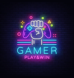 gamer play win logo neon sign logo design vector image