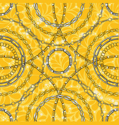 gold and silver chain flat seamless pattern vector image