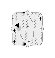 Grayscale quadrate with memphis geometric art vector