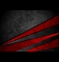 Grunge tech material red and black background vector