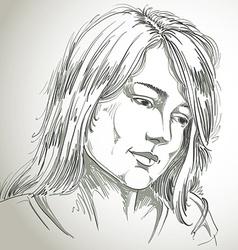 Hand-drawn portrait of white-skin sorrowful woman vector