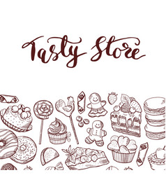 hand drawn sweets shop or confectionary vector image