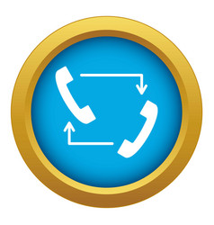 handsets with arrows icon blue isolated vector image