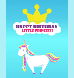 Happy birthday greetings childish unicorn rainbow vector