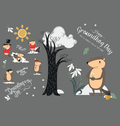 Happy groundhog day set cute marmot in cylinder vector