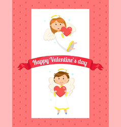 happy valentine day card angel with heart vector image