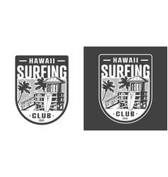 hawaii surfing club emblem vector image