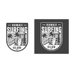 hawaii surfing club emblem vector image