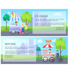 ice-cream and hot dog web vector image