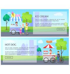 Ice-cream and hot dog web vector