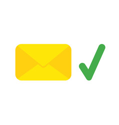 icon concept of closed mail envelope with check vector image