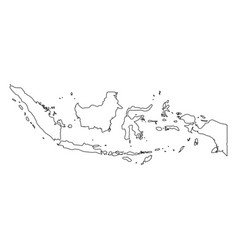 indonesia - solid black outline border map of vector image