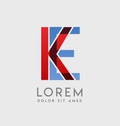 Ke logo letters with blue and red gradation vector