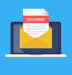 laptop and envelope with document email with vector image