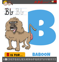 Letter b worksheet with cartoon baboon animal vector