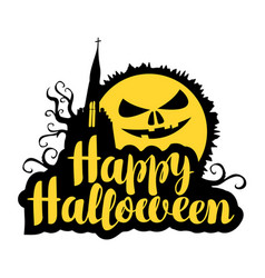 Lettering happy halloween with a horrible moon vector