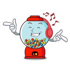 Listening music gumball machine mascot cartoon vector