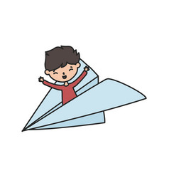 little boy cartoon character in paper plane vector image