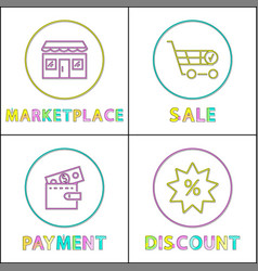 marketplace and payment poster vector image