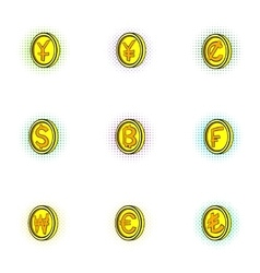 Money icons set pop-art style vector