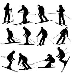 Mountain skier man speeding down slope sport vector image