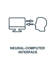 Neural-computer interface line icon thin style vector